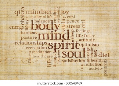 mind, body, spirit and soul concept  - word cloud on a papyrus paper