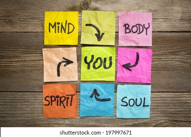 mind, body, spirit, soul and you - balance or wellbeing concept - handwriting on colorful sticky notes against grained wood