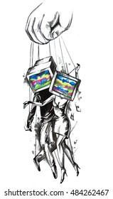 Mind control television manipulation advertising illustration