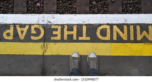 Mind the gap sign at London underground station