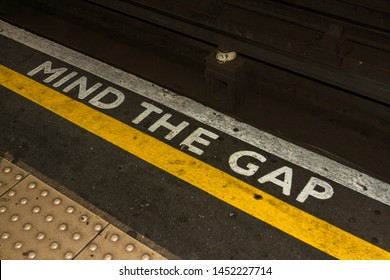 Mind the Gap Sign in Underground metro Station in London,UK-April 2019