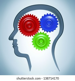 Mind gear. The concept of the functioning of the human brain.