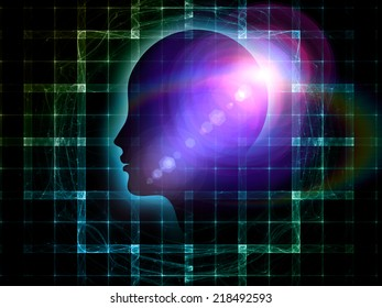 Mind Geometry series. Backdrop design of Human profile, math and design elements to provide supporting composition for works on reason, science, technology and education