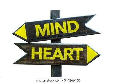 Mind - Heart signpost isolated on white background