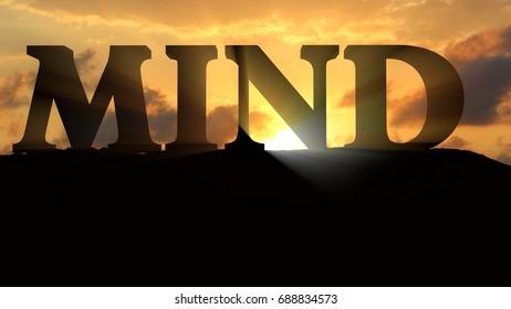 Mind on sunset Landscape - 3d rendering