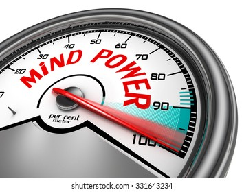 Mind power hundred per cent conceptual meter, isolated on white background