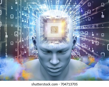Mind Processor series. Arrangement of Human head with CPU in perspective on the subject of  artificial intelligence, mind, mass media and modern technology