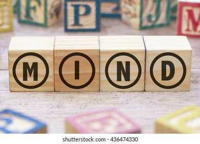 Mind word written on wood cube
