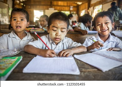 MINDAT, MYANMAR - JANUARY 23, 2017: Boys in a small village school near Mindat town. Chin state is the pooriest region in Myanmar. 2017