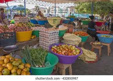 MINDELO, CAPE VERDE - AUGUST 29, 2015: Stalls selling fruit and vegetables in the market Estrela, Mindelo, Cape Verde