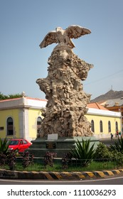 MINDELO, CAPE VERDE - DECEMBER 07, 2015: Eagle Statue - Homage from city of Mindelo to Sacadura Cabral, Gago Coutinho. Commemoration of 76th anniversary of first aerial crossing of  South Atlantic
