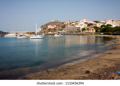 MINDELO, CAPE VERDE - DECEMBER 07, 2015: Sailboats in Marina of Sao Vicente island. Visible Fortim do Rei and maritime port agency AMP