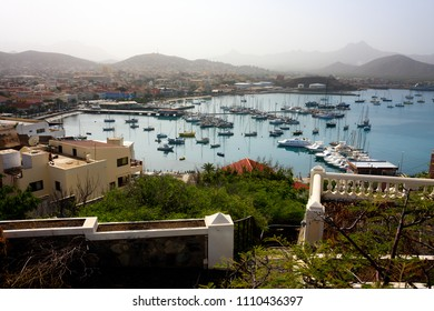 MINDELO, CAPE VERDE - DECEMBER 07, 2015: Marina of Sao Vicente island with boats and yachts and view of the Mindelo port city