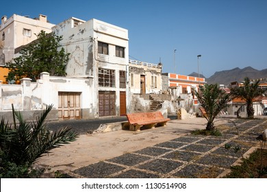 MINDELO, CAPE VERDE - DECEMBER 07, 2015: Abandoned buildings, scenic ruins in the middle of Mindelo City