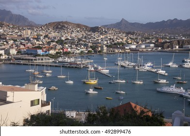 MINDELO, CAPE VERDE - MARCH 01, 2015: General view of the bay and the coast of the city