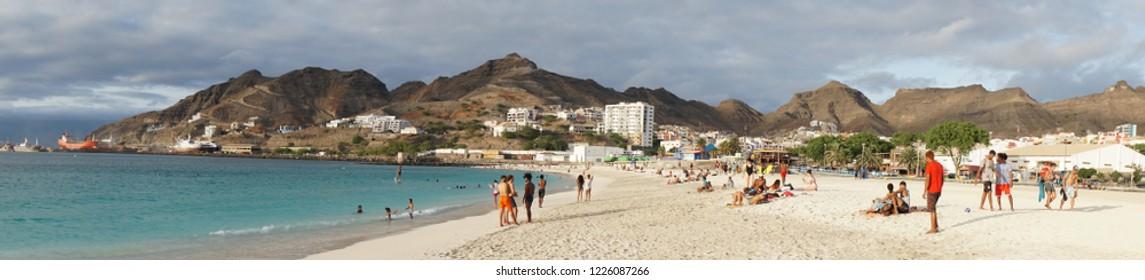 Mindelo, Cape Verde, October 27th, 2018: people enjoying the beach at Praia da Laginha in Mindelo, Cape Verde on October 27, 2018.