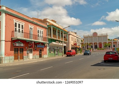 MINDELO, CAPE VERDE - OCTOBER 28, 2018: cars parked on the side of the road in the historic center of Mindelo, Cape Verde.