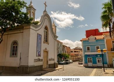 MINDELO, CAPE VERDE - OCTOBER 28, 2018: empty street in front of the church Nossa Senhora da Luz in Mindelo, Cape Verde islands on October 28, 2018.