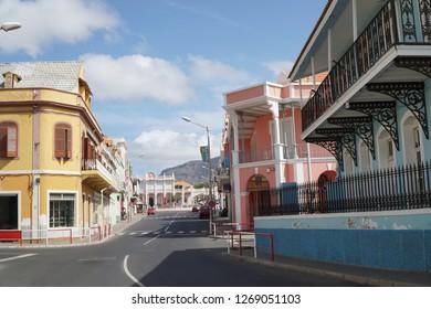 MINDELO, CAPE VERDE - OCTOBER 28, 2018: View towards the palace along Rua Libertadores d'Africa in the historic center of Mindelo, Cape Verde.