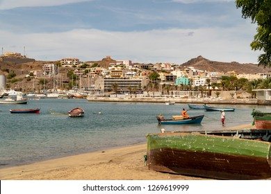MINDELO, CAPE VERDE - OCTOBER 28, 2018: traditional wooden boats anchoring in the harbor of Mindelo, Cape Verde