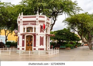 MINDELO, SAO VICENTE, CAPE VERDE - OCTOBER 31, 2018: View on the historic jugendstil pavilion on Praca Nova square in Mindelo, Cape Verde on October 31st, 2018.