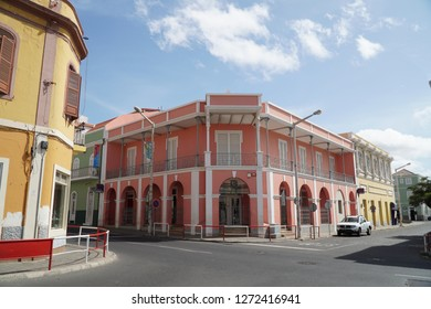 MINDELO, SAO VICENTE, CAPE VERDE - OCTOBER 28, 2018: historic building in the center of Mindelo on Sao Vicente island, Cape Verde.