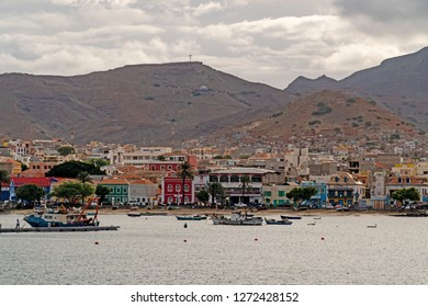 MINDELO, SAO VICENTE, CAPE VERDE - OCTOBER 29, 2018: Boats anchoring in the bay in front of the historic center of Mindelo, Cape Verde.