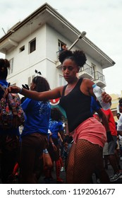 Mindelo, Sao Vicente Island, Cape Verde - Jan 5 2016: young girl dances during the street carnival