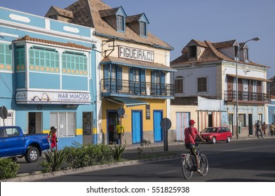MINDELO, SAO VICENTE ISLAND, CAPE VERDE - AUGUST 28, 2015: General view of the old colonial houses of the sea promenade