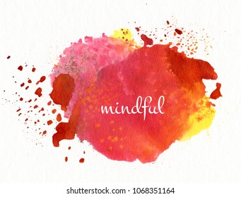 mindful on watercolor background
