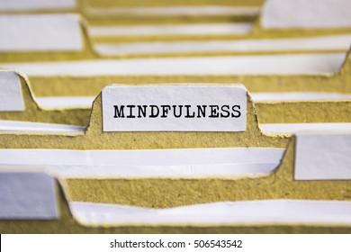 Mindfullness word on card index