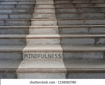 Mindfulness concept. The word MINDFULNESS written on stairs