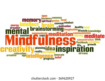Mindfulness, word cloud concept on white background.