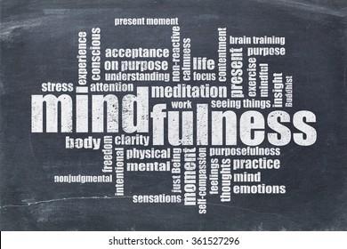 mindfulness word cloud in white chalk on a vintage slate blackboard