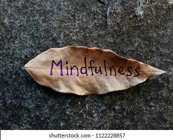 Mindfulness written on a dried leaf