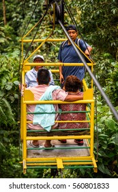 MINDO, ECUADOR - JAN 1, 2015: Unidentified tourists in the elevator in Mindo, Ecuador. Mindo Valley is among the most heavily visited locations in Ecuador.