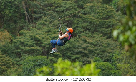 Mindo, Pichincha / Ecuador - October 6 2018: Young woman with helmet and harness sliding down a steel cable doing canopy ride over a green forest