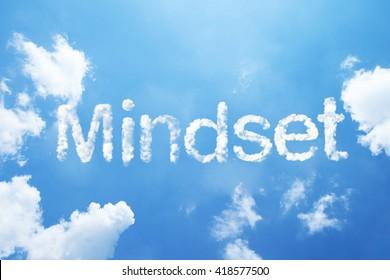 """""""Mindset"""" cloud word on sky."""