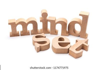 MINDSET wood letters on white background