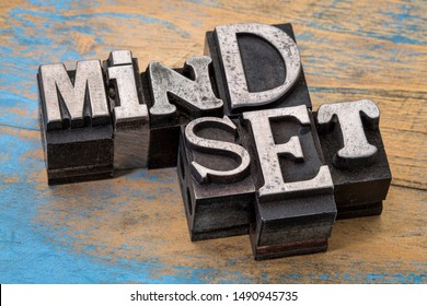 mindset word abstract typography in old metal type, personal development and attitude concept