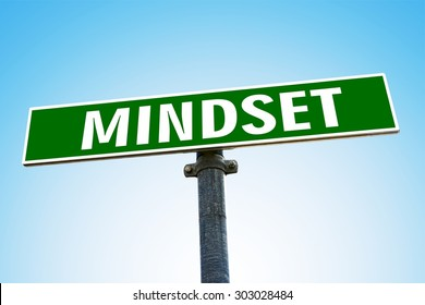 MINDSET word on green road sign