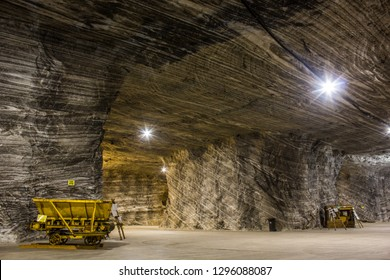 Mine cart in a salt mine in Romania, Europe