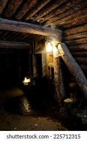 Mine - dungeon - tunnel with vintage lamp and miner tools