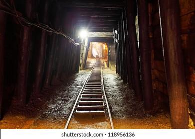 Mine with railroad track - underground mining