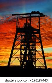 Mine shaft at sunset