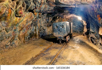 Mine with truck and railroad