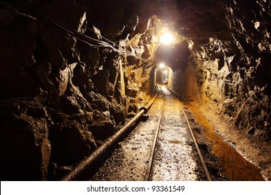 Mine tunnel with path