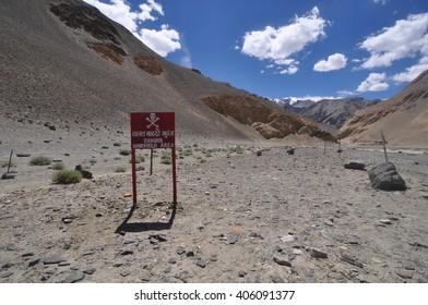 A minefield by changla baba near the Leh to Manali Highway over the great Himalaya range
