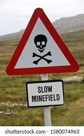 Minefield Sign near Stanley, the capital of the Falkland Islands (Islas Malvinas).  Large areas remain unsafe following the Falklands War, a 10-week undeclared war between Argentina and Britain.