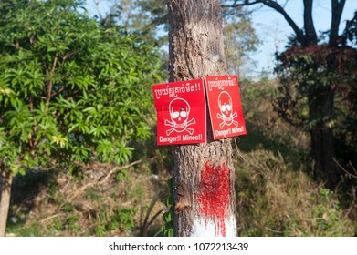 Minefield warning sign in North Cambodia